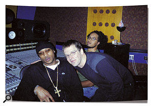 Rob Paustian gettin' friendly with Mario Winans, with Frank Saracco waiting patiently to finish the overdub.