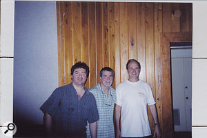 Bob Bullock (right) in Compass Point Studios, Nassau, with guitarist John Willis (left) and pedal-steeler Paul Franklin (centre).