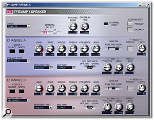 Most sections in the main Editor window feature a Detail button that brings up further controls, as shown here for the Preamp/Speaker settings.