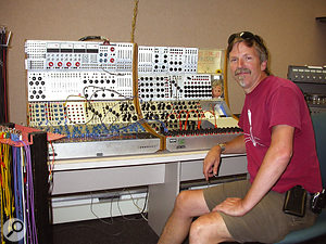 Peter Randlette with Evergreen College's Series 200 Buchla synth.