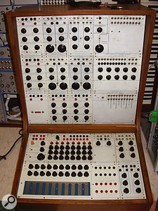 The Buchla Series 100 system at Washington State's Evergreen College, USA.