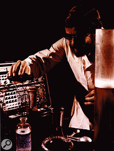 Buchla performing sonic alchemy in the early 1970s.