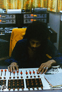 Jimi Hendrix at the Datamix console at the Record Plant, New York, during the recording of the Electric Ladyland album.