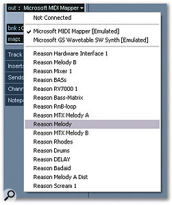 Rewire devices show up as regular MIDI output devices when selecting an output for a MIDI track.