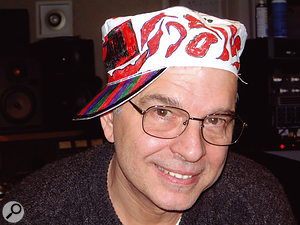 """Tony Visconti """"in a house painter's hat decorated with Sharpies by my 11-year-old daughter, Lara. It was taken in studio B of Looking Glass during the making of the Bowie album Reality. David refused to wear the hat."""""""