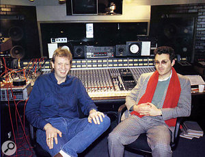 Clive Langer (right) and Alan Winstanley working with Madness around the time of 'Our House'.