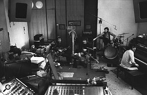 The Band in the pool house studio, 1969.