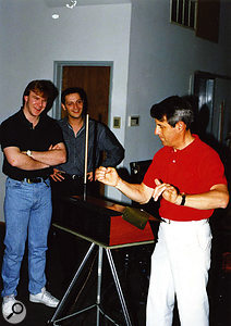 Gil Norton and engineer Al Clay with Theremin player Robert Brunner, in a photo taken during the recording of the Pixies' later Bossanova album.