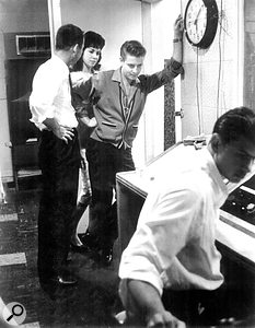 Levine in the control room at Gold Star in the late '50s with Eddie Cochran, his fianceé Sharon Sheeley and his manager, Jerry Capeheart.