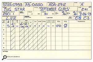 The track sheet and mastering notes for 'September Gurls'.