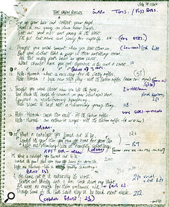 Vic's photocopy of the lyric sheet for 'The Eton Rifles'.