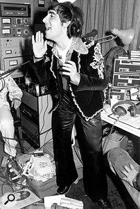 Keith Moon at KROQ radio studio, Los Angeles, 1977.