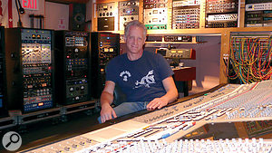 Michael Brauer with a mass of outboard. Brauer has developed a reputation for blending myriad compressors in parallel to shape the sound of vocals and other instruments.