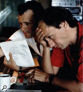 Neil Dorfsman and Mark Knopfler at the Neve desk in AIR Montserrat.