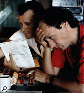 Neil Dorfsman and Mark Knopfler at the Neve desk in AIR Montserrat.