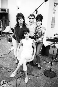 Spector and the Ronettes after a session in Gold Star's live room. In the foreground is a Neumann U47 used to record Ronnie's vocal parts. Also visible in the background is an RCA mic and one of a pair of huge Altec monitors.