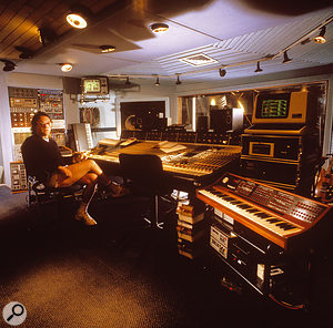 Trevor Horn in the control room of Sarm West, 1984. He was apparently on his way to a tennis game. To the right of the picture is the Synclavier that played such a big part in the Frankie Goes To Hollywood sound.