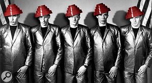 Devo in 1980, displaying their usual degree of sartorial unity and, of course, 'Energy Dome' headgear.