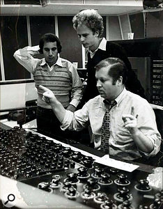 Roy Halee with Paul Simon and Art Garfunkel in the control room of Columbia's New York studio.