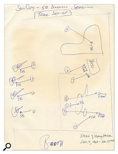 Bones Howe's original layout notes for the tracking session at Wally Heider Studio 3.