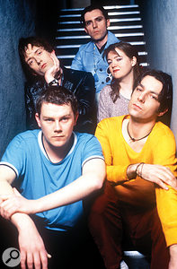 The line-up of Pulp that recorded 'Common People'. Clockwise from top: Russell Senior, Candida Doyle, Steve Mackey, Nick Banks and Jarvis Cocker.