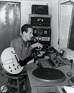 Les Paul at work in his home studio.