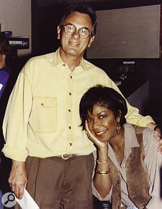 Al Schmitt with Natalie Cole during the recording of 'Unforgettable'.
