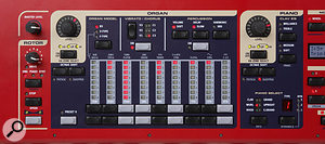 As on the Nord Electro and the Nord Lead 3, LED drawbars and endless rotaries with LED 'collars' are used so that the controls are instantly updateable when patch memories are recalled.