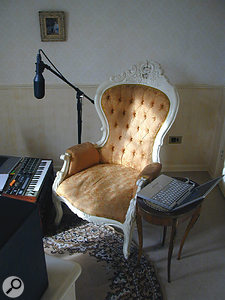 Uwe Schmidt's minimalist studio, based around an Apple Powerbook and a Microkorg keyboard. The mic is a Soundfield ST250.