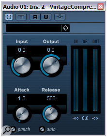 Cubase's Vintage Compressor uses another approach, as found in the UREI 1176, whereby an input gain control pushes the signal up against afixed compression threshold to increase the amount of compression.
