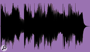 However, if the ratio is set too high, as in this bottom waveform envelope, the compression will iron out the part's internal performance dynamics and render it unmusical.