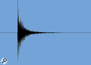 A compressor's attack and release times can have very different effects on the waveform envelope of asnare‑drum hit. Beneath the unprocessed hit (top), you can see the transient‑suppressing effect of very short attack and release times. The third waveform shows how combining afast attack with aslower release gives you pretty much just an overall level change, with little change in the nature of the snare sound. In the last waveform, increasing the attack time alittle in has boosted the level of the initial percussive transient in relation to the sustain.