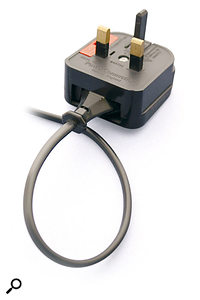 Audio equipment which uses a double-insulated design needs no earth connection, and so is less susceptible to earth-loop problems. Such equipment will often use two-core mains cable, which has an oval cross-section, and the mains plug will sometimes use a dummy plastic earth pin, as shown here.