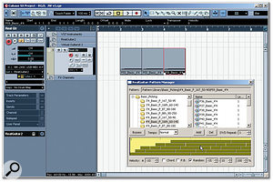 Real Guitar's Pattern Manager allows you to drag-and-drop patterns into your DAW's arrange window. Here, there are two MIDI tracks set up in Cubase SX: the first for the basic chord sequence and the second for the different patterns.