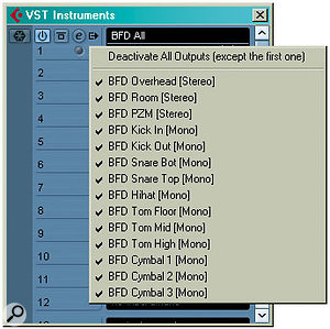 In this example, we're using BFD to create the multitrack project. Remember that if you want to use all the outputs from your VSTi you have to enable all outputs first, in the VST Instruments window, using the button to the right of the Edit icon. By default — or if you simply create an Instrument track — you'll only get the first stereo pair of outputs.