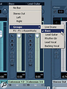 Audio tracks and VST Instruments can be routed to a Group channel, via the Mixer window (as shown here), the Project window Inspector, or a track's Channel Settings window.