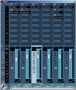 Where possible, it's useful to apply effects plug-ins and EQ at the Group level. Not only will this reduce the strain on your computer, but it also makes tasks like automation much more convenient.