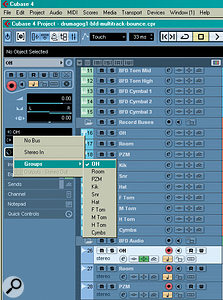 The next step is to create an audio track for each track you want to record. As with the Group tracks, you need to remember to create stereo or mono tracks as appropriate. On each audio track you can select the corresponding Group track as the input source, as pictured.