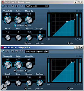 It can be useful to combine two compressors for vocal processing.