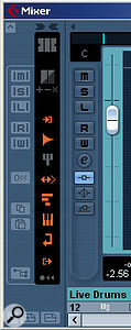 The mixer's Common Panel allows the display of particular track types to be toggled on or off to simply the display. Hovering the cursor over the grey/orange icons will tell you what each one does.