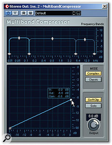 Above the -40dB threshold, setting the amount of gain reduction for a 0dB input allows you to control the compression ratio.