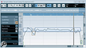 On the left, a large amount of pitch variation is present in a long sustained note. On the right, the sustained note has been edited into a single segment and Straighten Pitch applied to reduce the overall pitch drift.