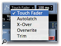 The Automation Mode pop-up menu in Cubase SX enables you to select different modes to use when writing automation data.
