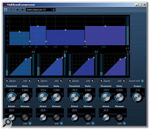 Multiband Compressor, shown here with the settings used to achieve the final bass guitar sound.