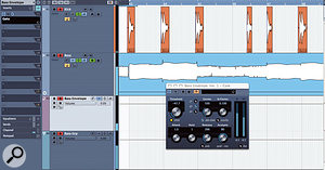 Cubase's Gate doesn't have a variable depth control, so side-chain gating to create a volume envelope isn't simple. Here, I've sent the bass part to an FX channel and then routed both tracks to a Group. This enabled me to use the kick drum to trigger a gate on the FX channel of the bass, and then mix the two parts to taste, before setting the overall level of the bass part using the Group.