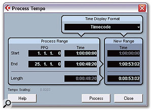 Process Tempo is a powerful command to process tempo changes within a given range in order to hit a specific timecode position with a musical location.