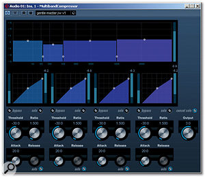 When mastering, lower Threshold and Ratio values produce a more gentle overall compression.