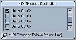 The MIDI Timecode Destinations group allows you to set which MIDI ports in your system will output MIDI Timecode from Cubase.