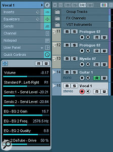 The Inspector's Quick Control panel provides slots for eight parameters.