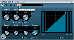 Here you can see Cubase's compressor set up to achieve the ducking effect in our demo project: note the very low Threshold and Ratio settings, and that the Make‑up control's Auto button is switched off. The mouse is currently hovering over the Activate Side‑chain button, which needs to be lit if signals from other audio channels are going to trigger the compressor's gain reduction.